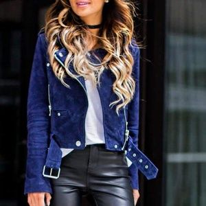 Blank NYC Backhanded Navy Suede Moto Jacket XS
